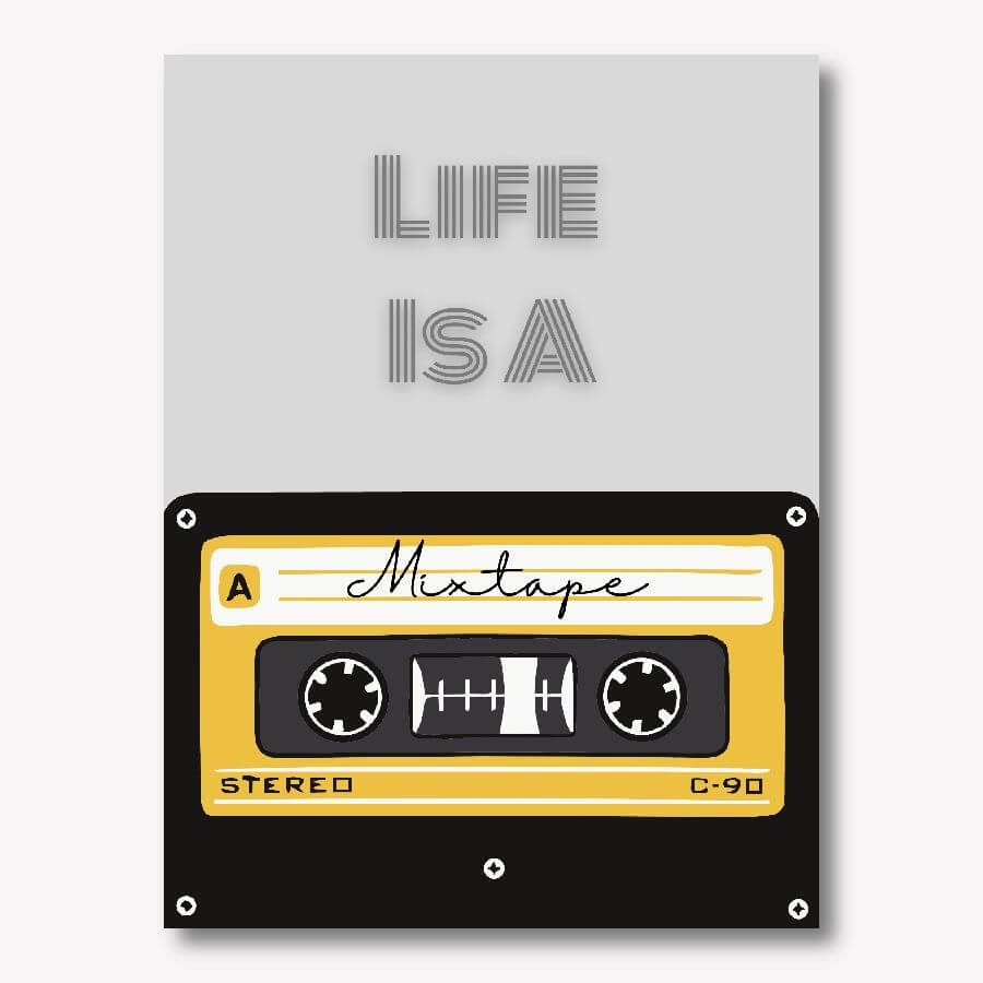 Life is a mixtape -80s cassette music wall art | FREE USA SHIPPING | www.wallArt.Biz