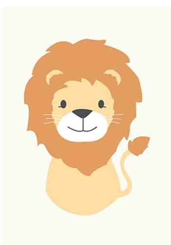 baby lion nursery wall decoration with pale background