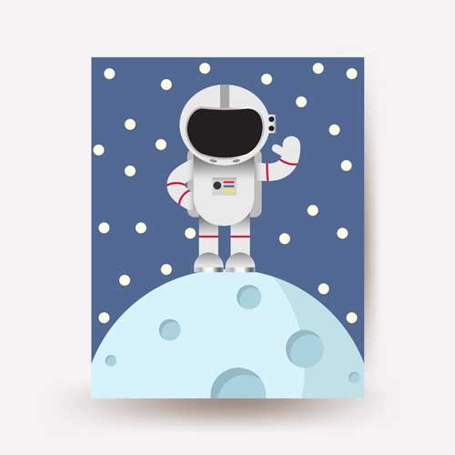 astronaut art cartoon - free usa shipping -www.wallart.biz