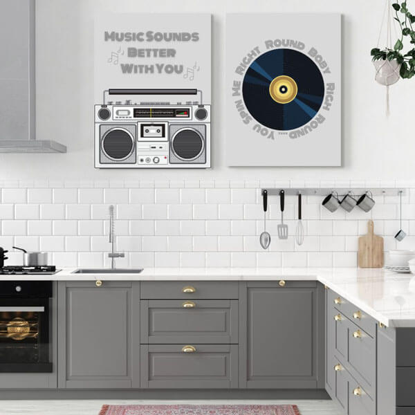 Classic 80s music transformed into stylish kitchen wall art decor | FREE USA SHIPPING | www.wallArt.Biz