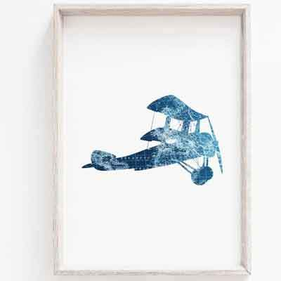 Blue Plane nursery wall art - free usa shipping - www.wallart.biz
