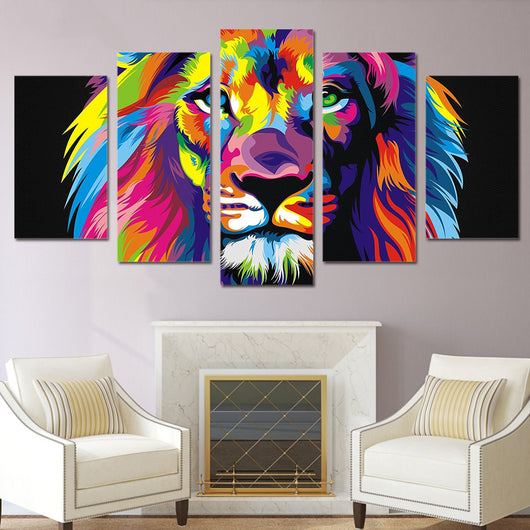 Lion Painting | Vibrant Multi Colors | Abstract Wildlife Animal Prints