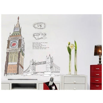 London's Big Ben | Removable Wall Decal | Kid's Room Art