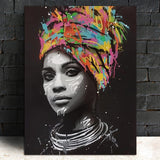 Stunning woman in Black & White with Colorful Headdress | Canvas Wall Art