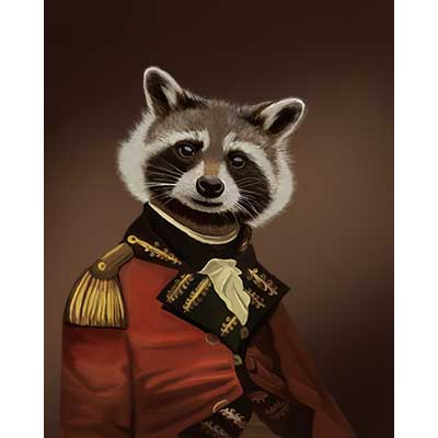 racoon dressed as human - free usa shipping - www.wallart.biz