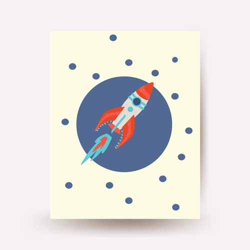 space rocket and astronaut wall art - free usa shipping - www.wallart.biz