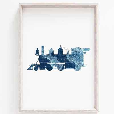 Steam train nursery wall art - free usa shipping - www.wallart.biz