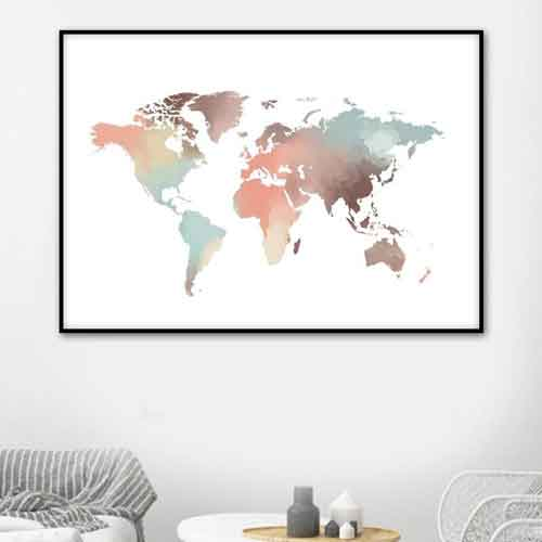 watercolor world map canvas art | Free USA Shipping | www.wallart.biz