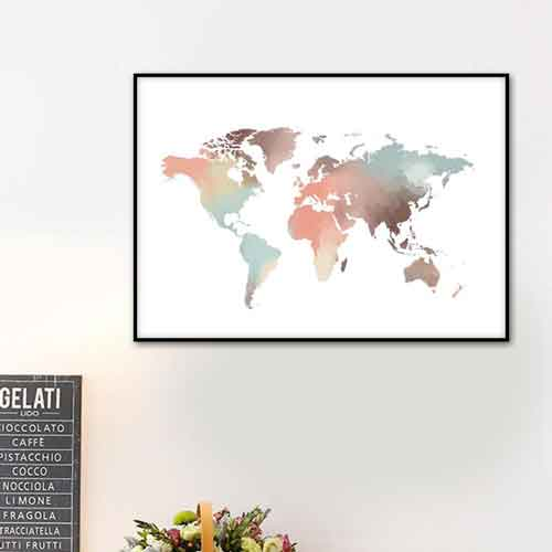 watercolor world map wall art | Free USA Shipping | www.wallart.biz