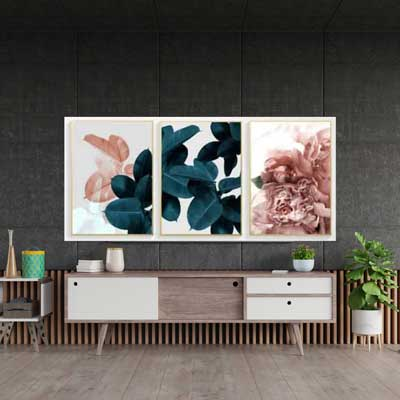 Living Room Floral Print - 3-piece set wall Art | Black & Pink Leaves