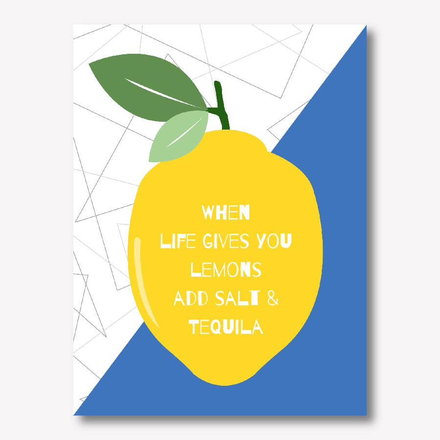Blue kitchen canvas art - When Life Gives You Lemons Add Salt & Tequila! | FREE USA SHIPPING | WallArt.Biz