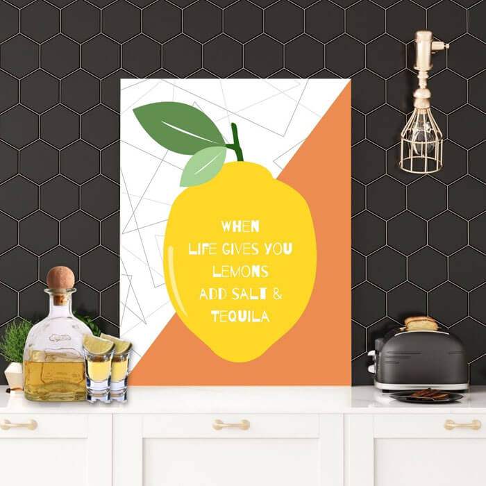 Kitchen wall prints - When Life Gives You Lemons Add Salt & Tequila! | FREE USA SHIPPING | WallArt.Biz