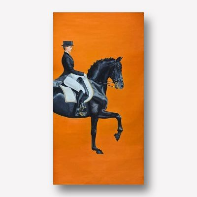 Black Horse & Female Rider Wall Art