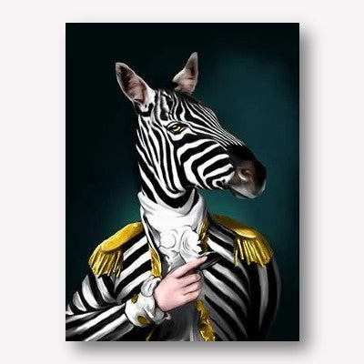 Zebra dressed as human art | Free USA Shipping | www.wallart.biz