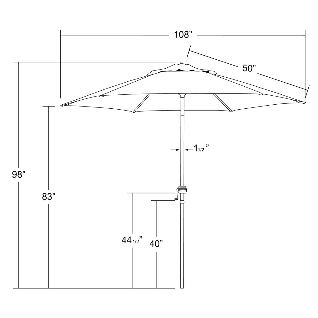 9' Steel Market Umbrella With Push Tilt in Polyester
