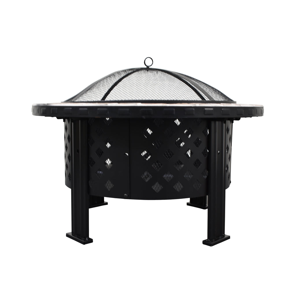 30' Fire Pit With Unique Tile Design