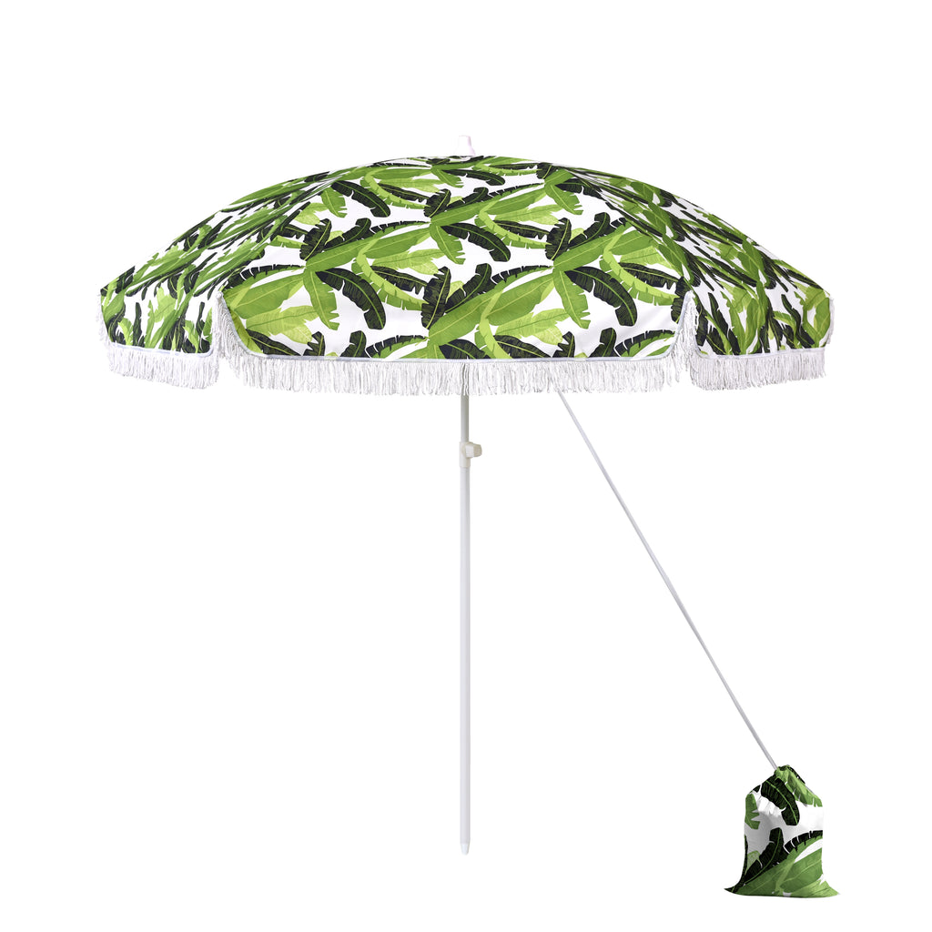 6.5 ft Beach Umbrella in Lush Paradise