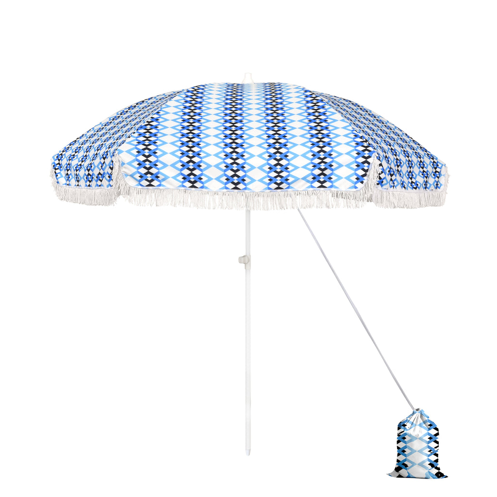 6.5 ft Beach Umbrella in Azure Braid