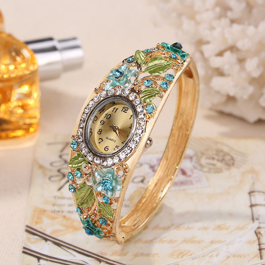 Luxury Crystal Dial Diamond Flower Bracelet Watch