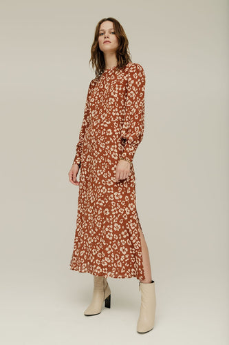 Lily and Lionel Sarah Dress Floral Leopard Mahogany