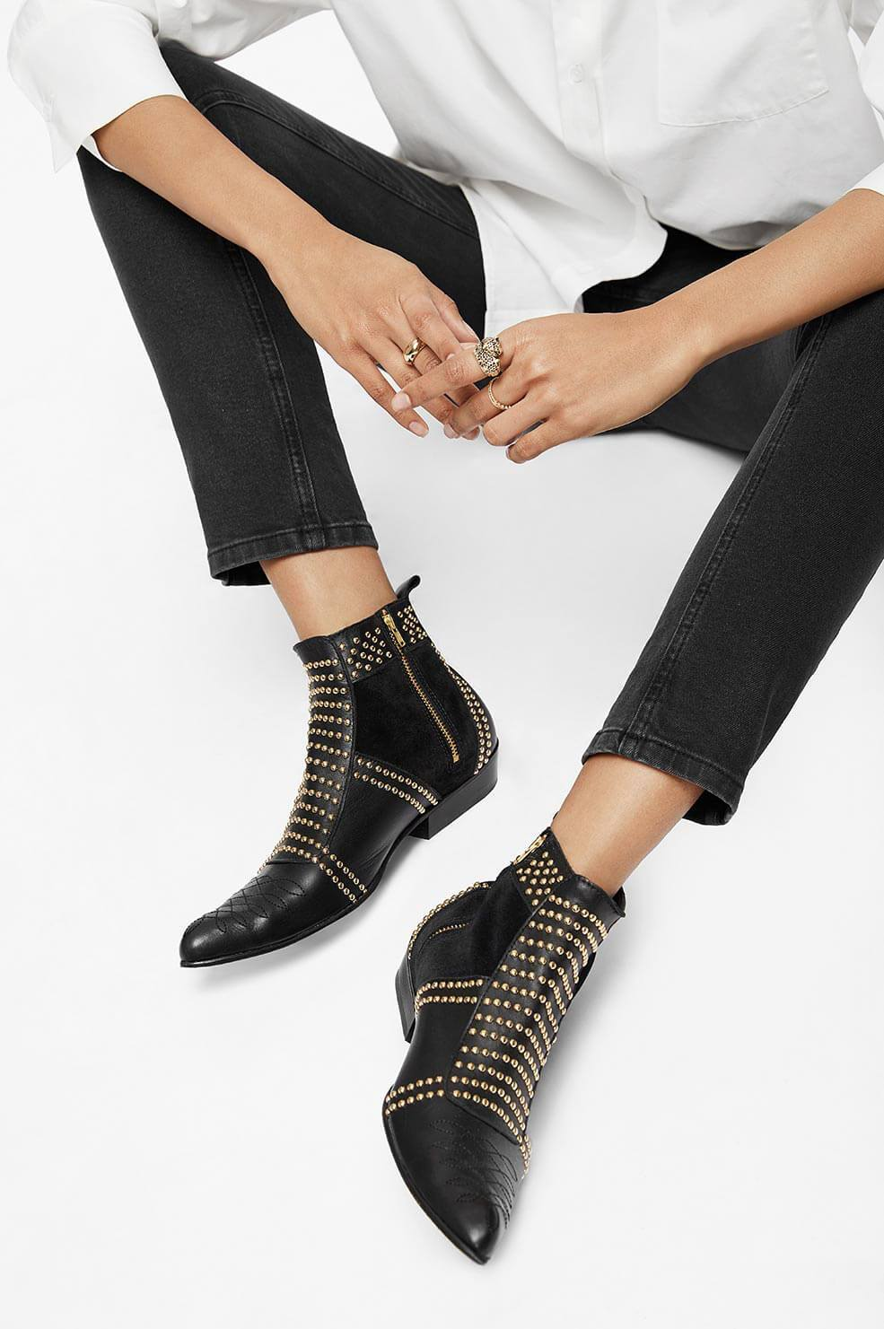 Anine Bing Charlie Boots with Gold Studs