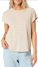 Load image into Gallery viewer, Mink Pink natural/white stripe tee