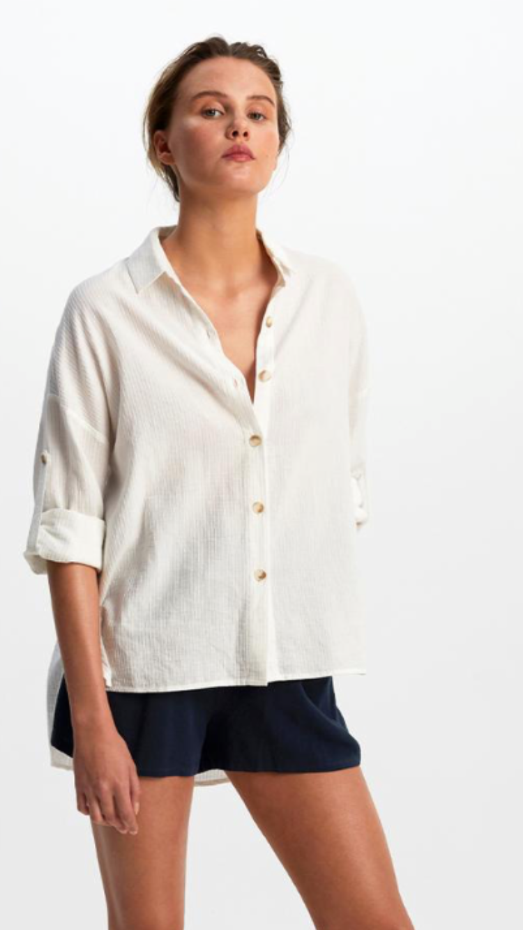 Staple The Label whitewash relaxed shirt