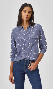 Equipment Slim Signature Silk Shirt in Bluestone Star