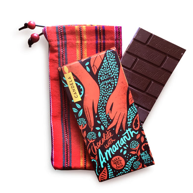 Peruvian Organic Dark Chocolate + Handwoven Bag, Amaranth Flavor