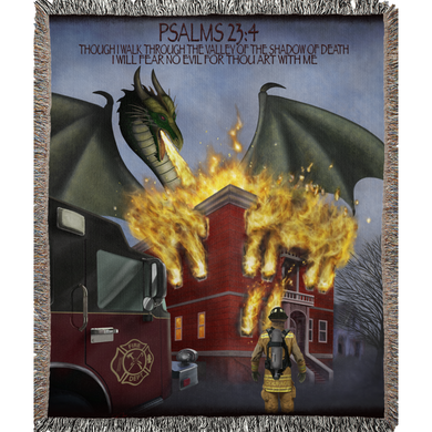 BLANKET, WOVEN, WITH FIREMAN PSALMS DESIGN