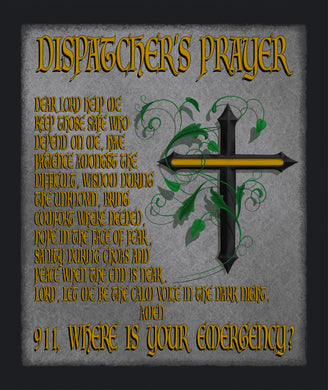 Blanket, Sherpa, Dispatcher Prayer with Thin Gold Line Cross