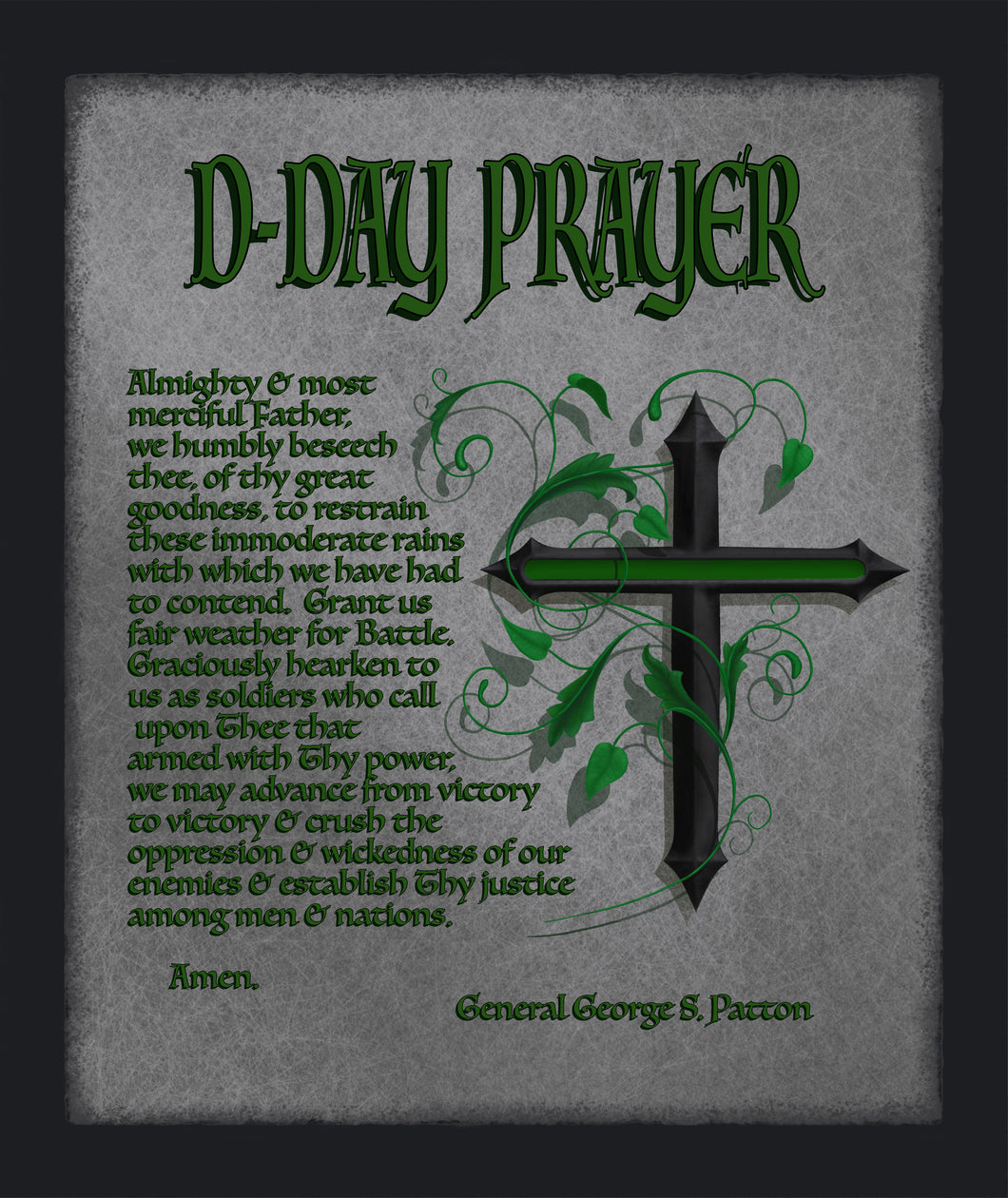 Blanket, Sherpa, Military D-Day Prayer with Thin Green Line Cross