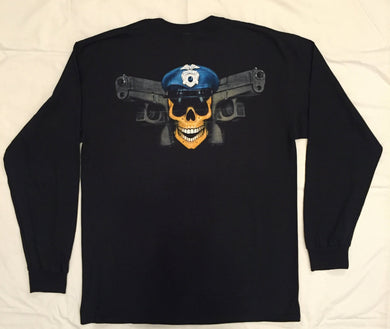 T-SHIRTS, LONG SLEEVE, (Cotton) WITH POLICE JOLLY ROGER DESIGN
