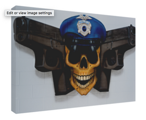 CANVAS WRAP, POLICE JOLLY ROGER, 24X16