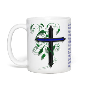 COFFEE CUP, 11 OZ, POLICE CROSS W/PRAYER