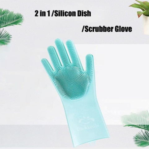 1PCS Food Grade Dishwashing Gloves Silicon Dishes cleaning Gloves with Cleaning Brush Kitchen Wash Housekeeping scrubbing gloves