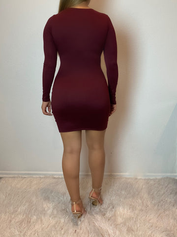 Allison Long Sleeve Dress (burgundy)