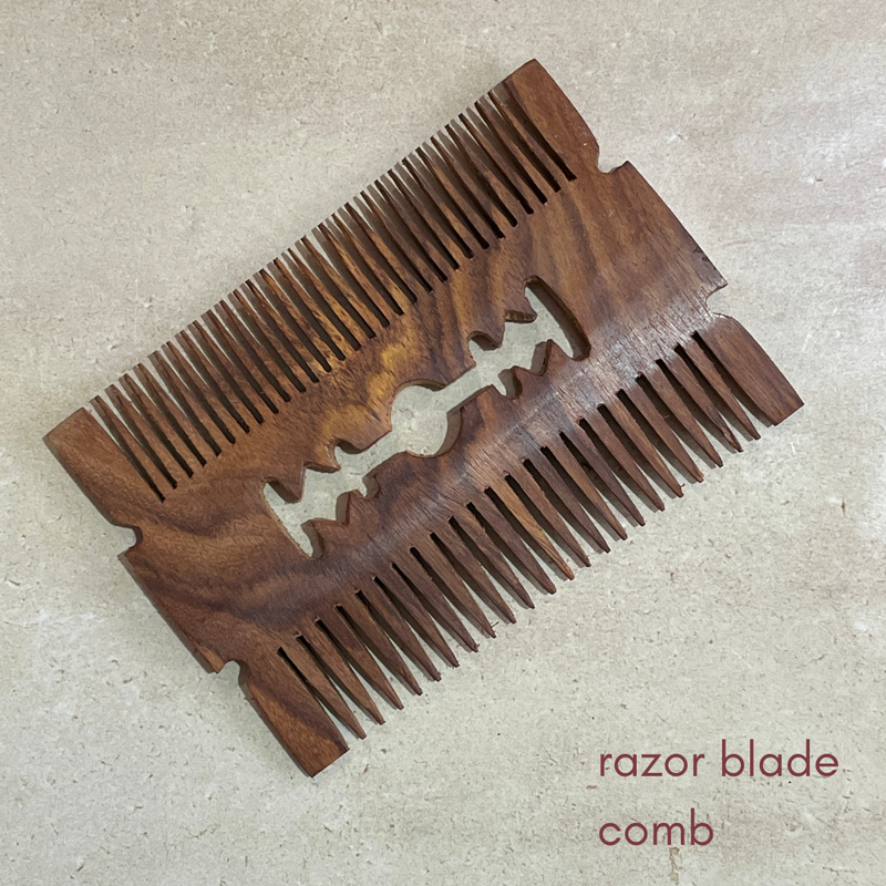 carved - royal shisham wooden combs