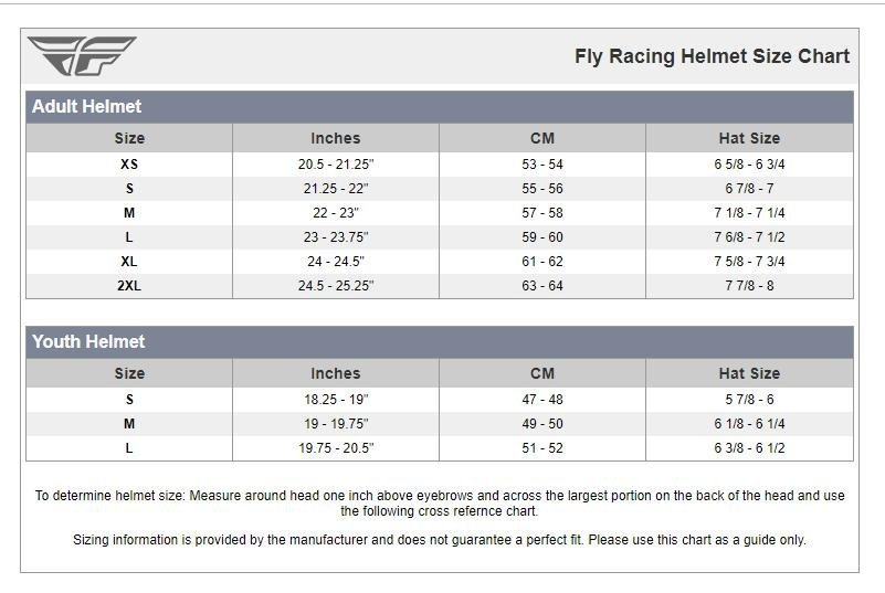Fly Racing Helmet Size Chart G Force Powersports