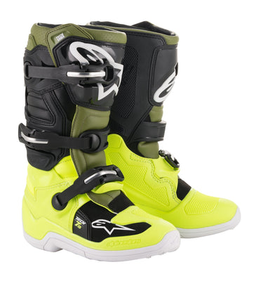 YOUTH TECH 7S BOOTS YELLOW/MILITARY/BLACK - G-FORCE POWERSPORTS
