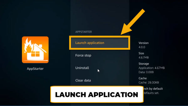 click launch application for appstarter