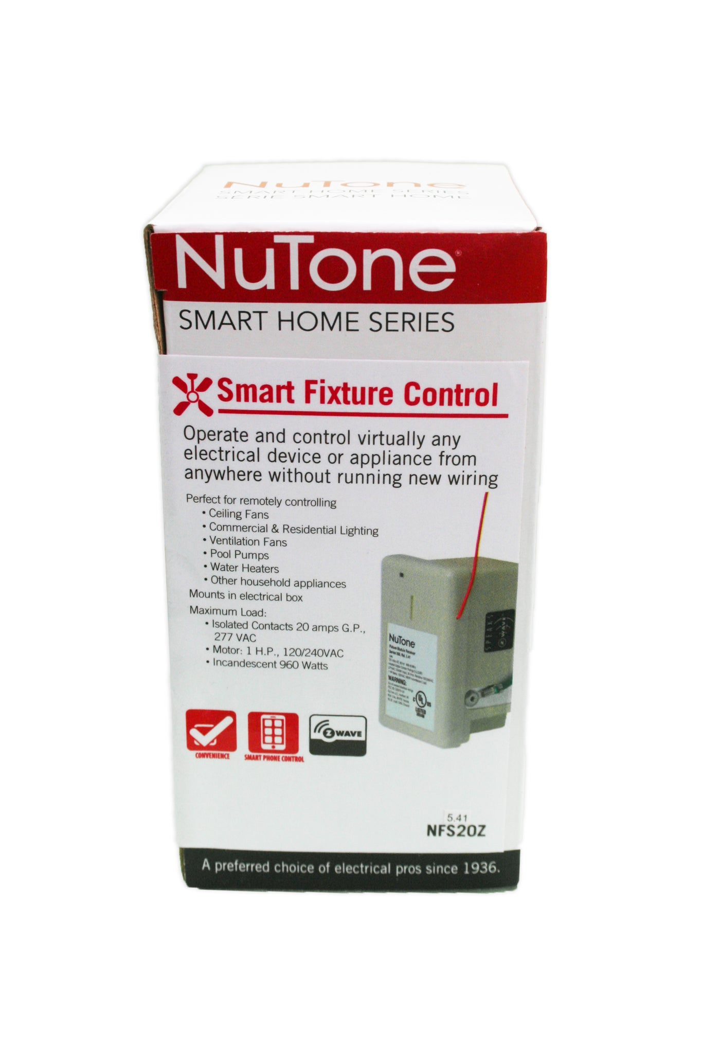 Nutone Nfs20z Smart Z Wave Enabled Isolated Fixture Mounted Control Home Wiring Device Load Image Into Gallery Viewer