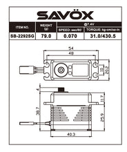 Load image into Gallery viewer, Savox 2292 Monster Performance, Brushless Servo Black Edition .07sec / 430.5oz @ 7.4v