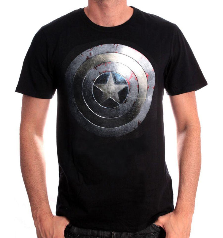 T-shirt Captain America Marvel - Captain Shield Silver tee-shirt marvel shoping