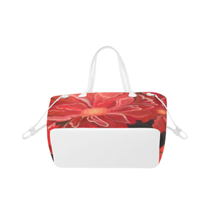 Burst of Red Tote Bag (White Trim)  (Model 1661)