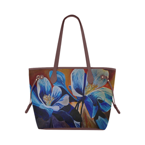 Blue and Brown Tote Bag (Brown Trim) (Model 1661)