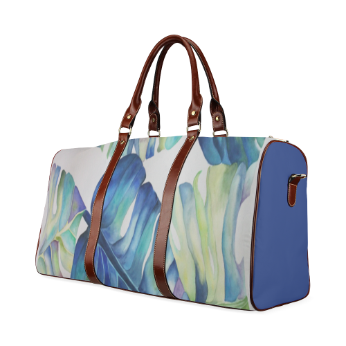 Split Blue Leaf Waterproof Travel Bag/Large (Model 1639)