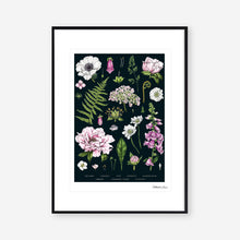 Load image into Gallery viewer, Botanical 'Summer Garden' Black - Art Print