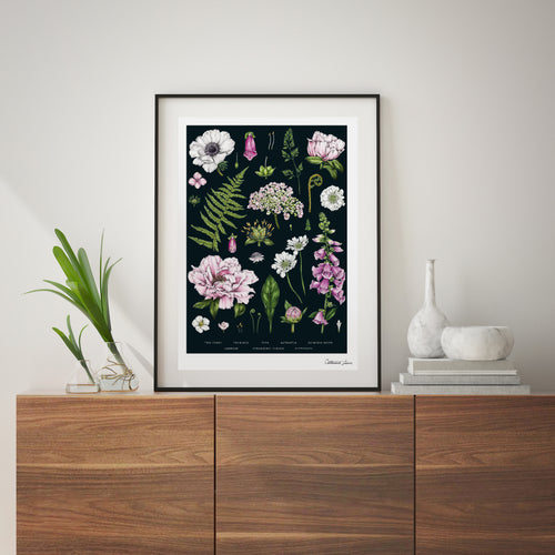Botanical 'Summer Garden' Black - Art Print