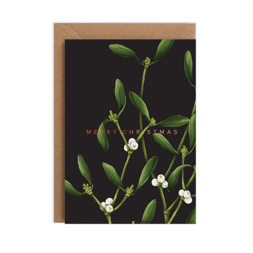 Mistletoe - Black Christmas Card